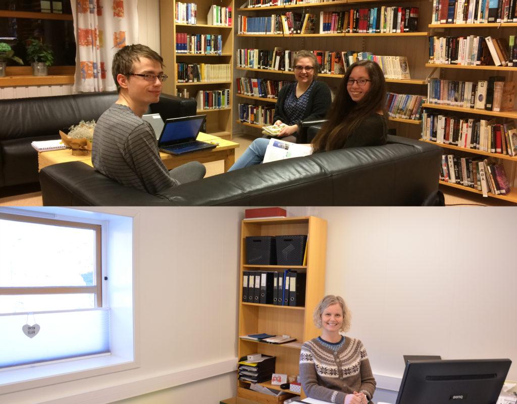 Sigrid er nøgd med nytt kontor. Før var dette sofaavdelinga i biblioteket. (Foto: Helge J. Stautland)